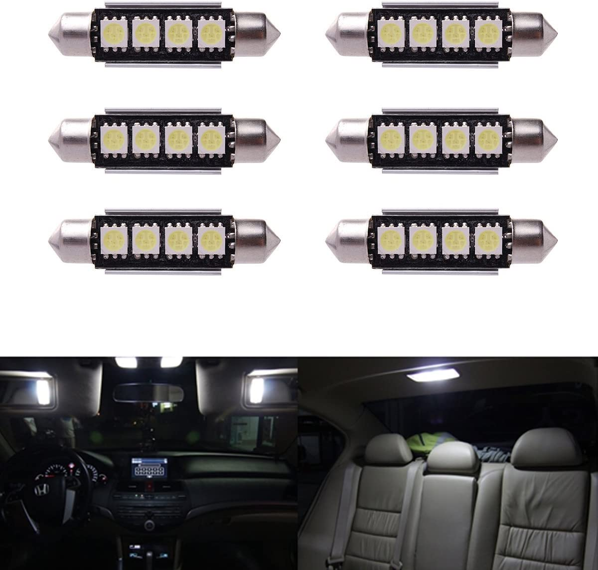 XCSOURCE 6 x Car Dome 5050 SMD LED Canbus Bombilla Interior del Adorno LED 42MM Blanco LD308