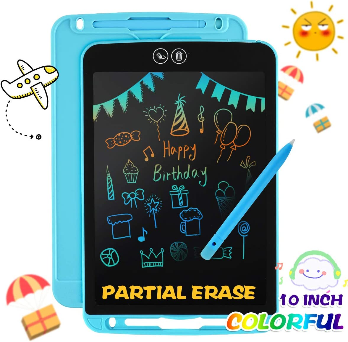 APLUGTEK LCD Writing Tablet, 10 inch Partial Erase Electronic Doodle Board, Portable Reusable Writing Pad, Colorful Screen Writing Board Gift for Kids Adult Home School Office, Blue