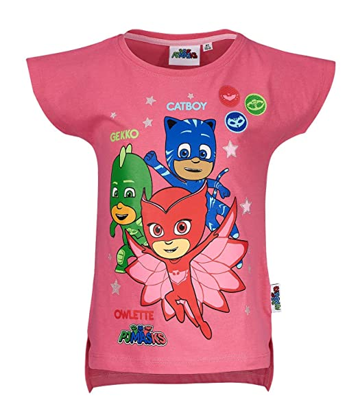 9f693f297 PJ MASKS Girls Short Sleeve T-Shirt - Fuchsia - 2 yrs: Amazon.co.uk ...