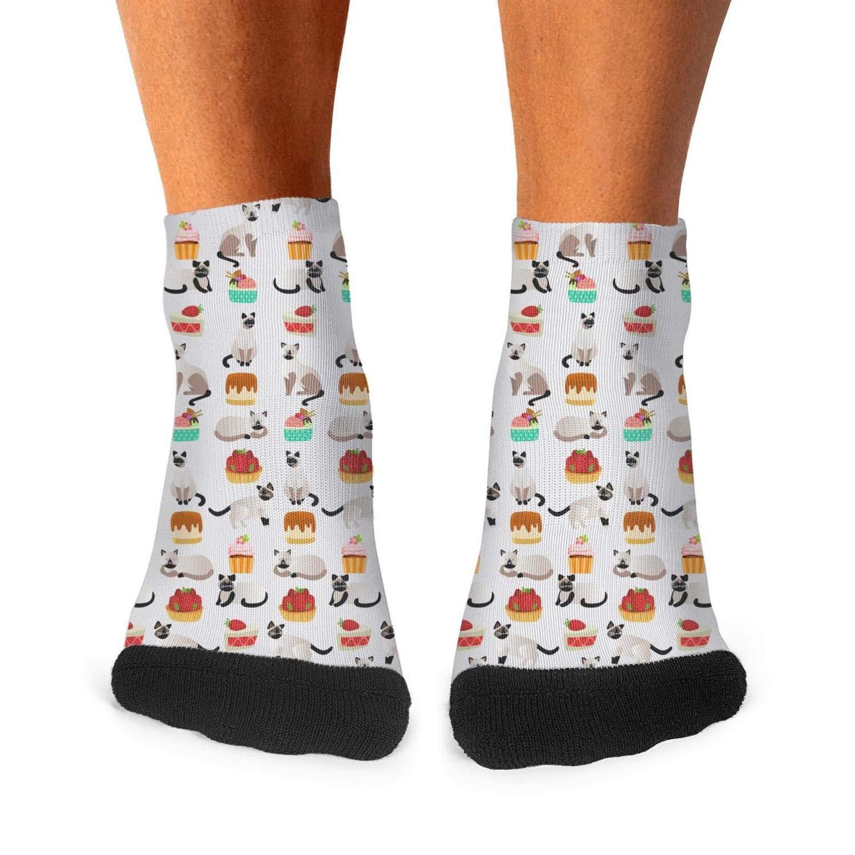 Floowyerion Mens Siamese cat flower cactus Novelty Sports Socks Crazy Funny Crew Tube Socks