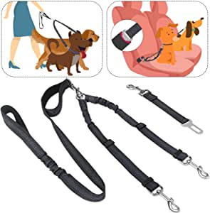 SlowTon Double Dog Seat Belt and Dog Leash Set, Dual Detachable Pet Car Seatbelt and Pet Lead for Two Dogs, Adjustable Safety Belt and Leash with Elastic Reflective Stripe Connect with Dog Harness