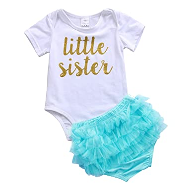 c087b1aae Amazon.com: Newborn Baby Girls Outfit Short Sleeve Little Sister Romper  Tutu Shorts Clothes Set: Clothing