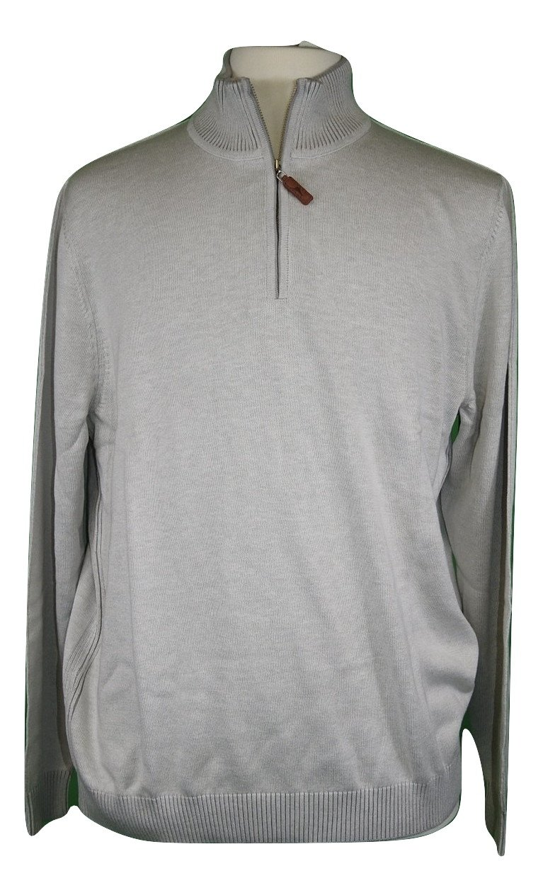 Tommy Bahama Chief Island Officer Silk Blend Half Zip (Color Cobblestone, Size XXL)