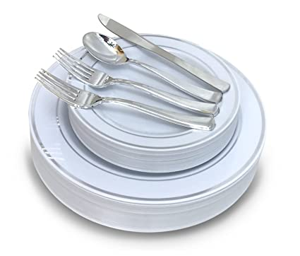 u0026quot; OCCASIONS u0026quot; 720 PCS / 120 GUEST Wedding Disposable Plastic Plate and Silverware  sc 1 st  Amazon.com : plastic dinnerware sets for wedding - Pezcame.Com