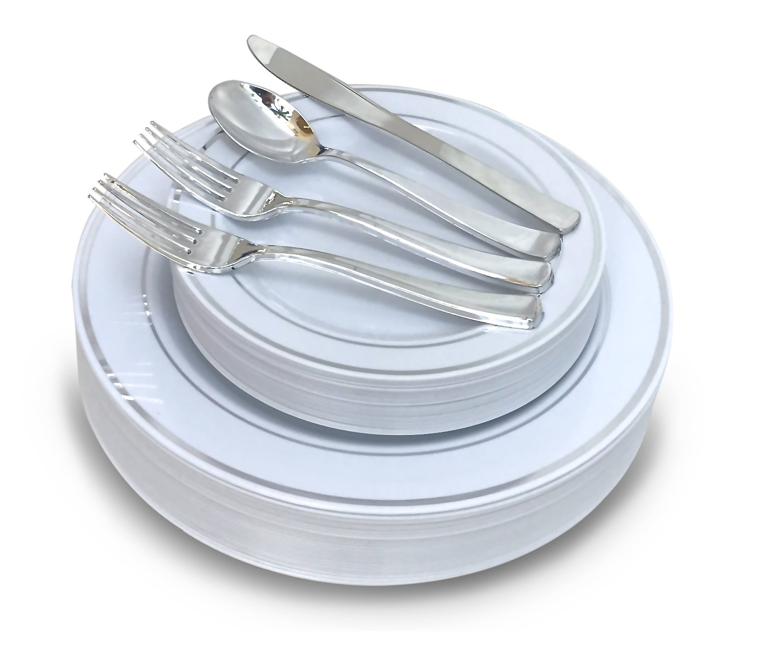 '' OCCASIONS '' 720 PCS / 120 GUEST Wedding Disposable Plastic Plate and Silverware Combo Set , (White / Silver Rim plates, Silver silverware)