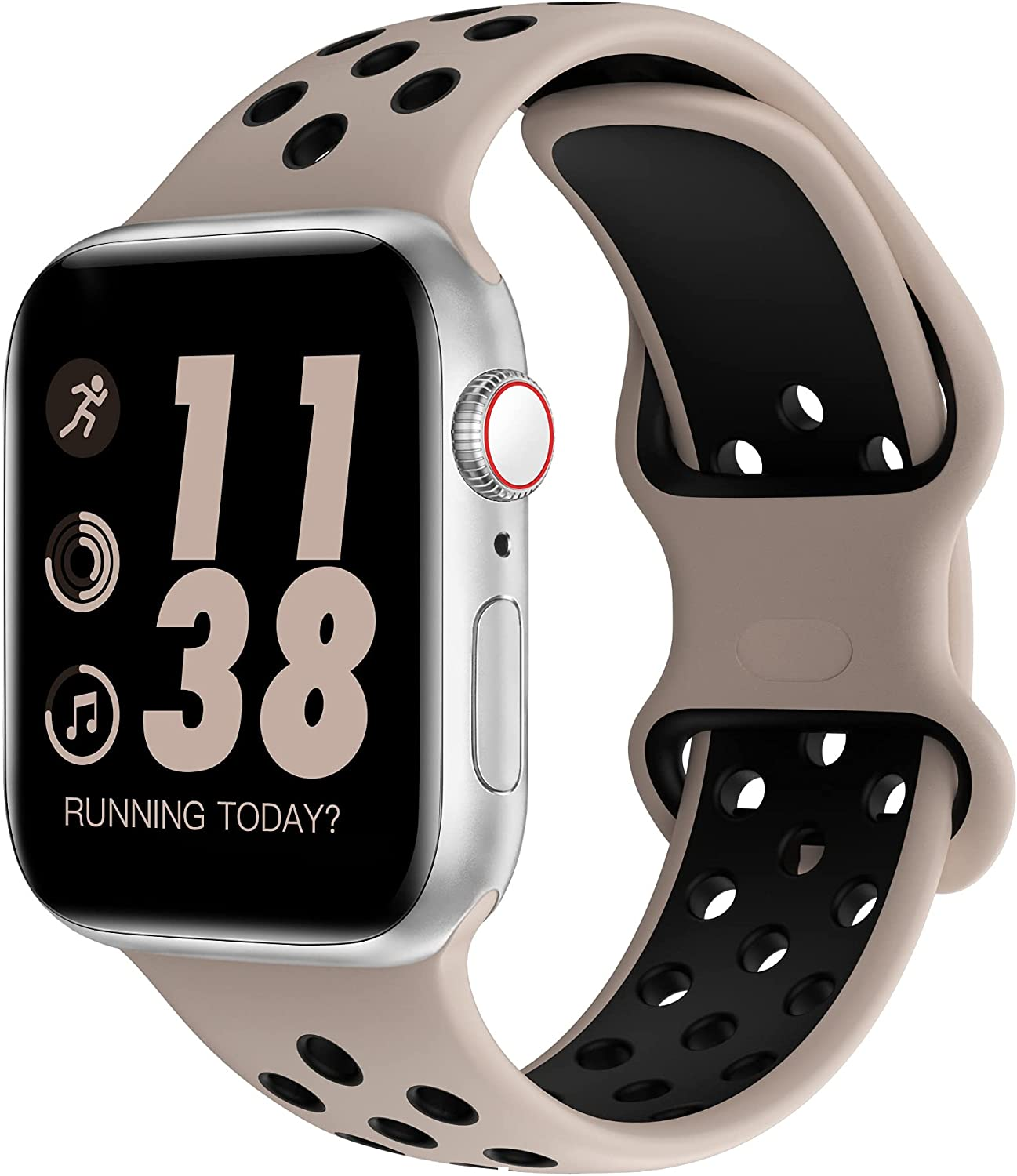SWHAS Sport Bands Compatible with Apple Watch Bands 38mm 40mm 42mm 44mm, Soft Silicone Replacement Strap Wristband Compatible for iWatch Series 6/SE/5/4/3