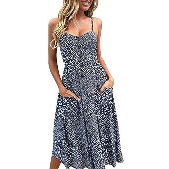 Vestidos Playa Mujer Verano Corto Mini Vestido Fiesta Elegante Vestido de Playa Casual Vestir Ropa Niña Falda Botones de Sóli con Bolsillos Vestidos de ...