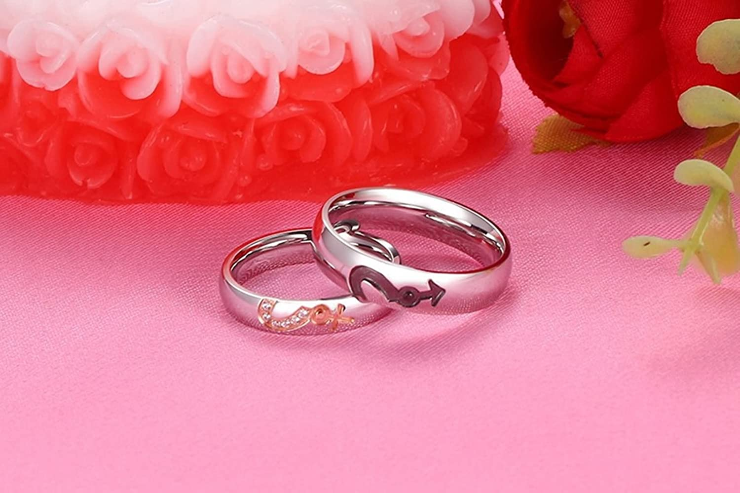 Beydodo Titanium Rings His and Hers Stainless Steel Rings Couple ...