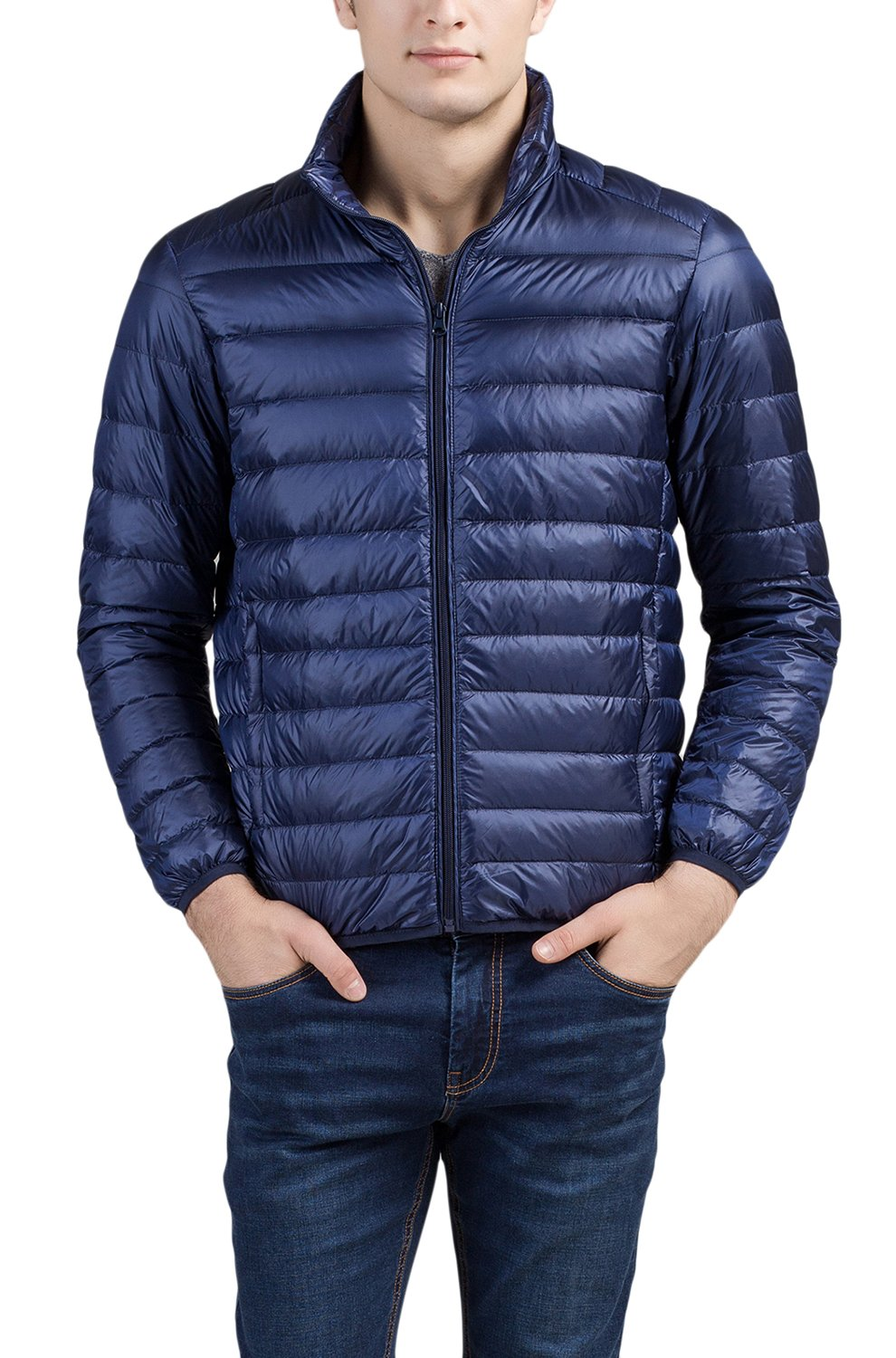 Cheering Men's Packable Down Jacket Weatherproof Winter Coat Navy US Large(Tag 2XL) by Cheering