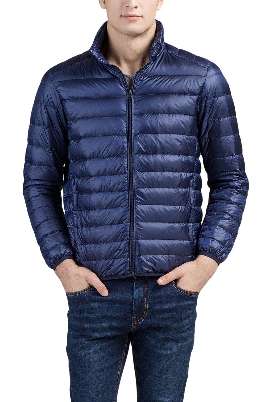 Cheering Men's Packable Down Jacket Weatherproof Winter Coat Navy US Large(Tag 2XL)