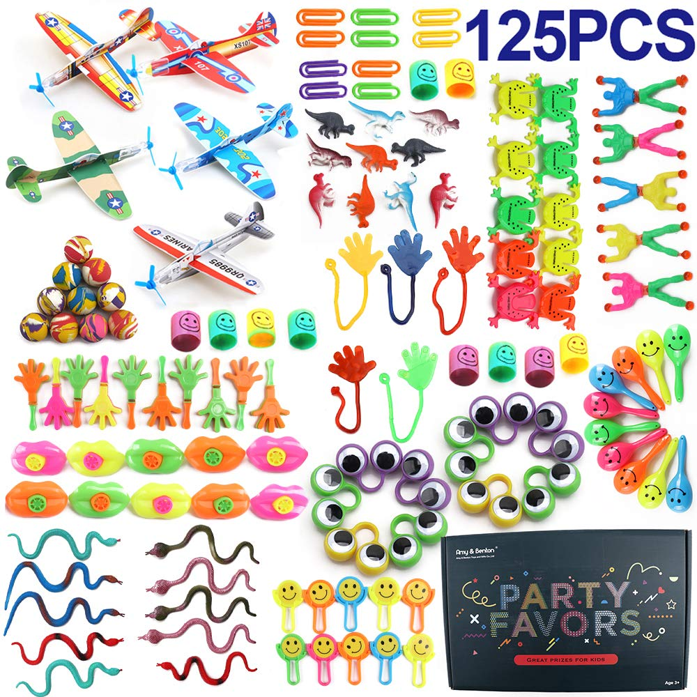 Amy&Benton Pinata Filler Kids Birthday Party Favors for Goodie Bag Fillers 125PCS Carnival Prize for Kids Prize Box Toys for Classroom Treasure Box Prizes Bulk Toy Assortment for Boys