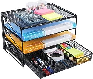 Veesun Paper Letter Tray Organizer, Mesh Desk File Organizer with 3 Tier Shelf Sorter with Drawer,Black