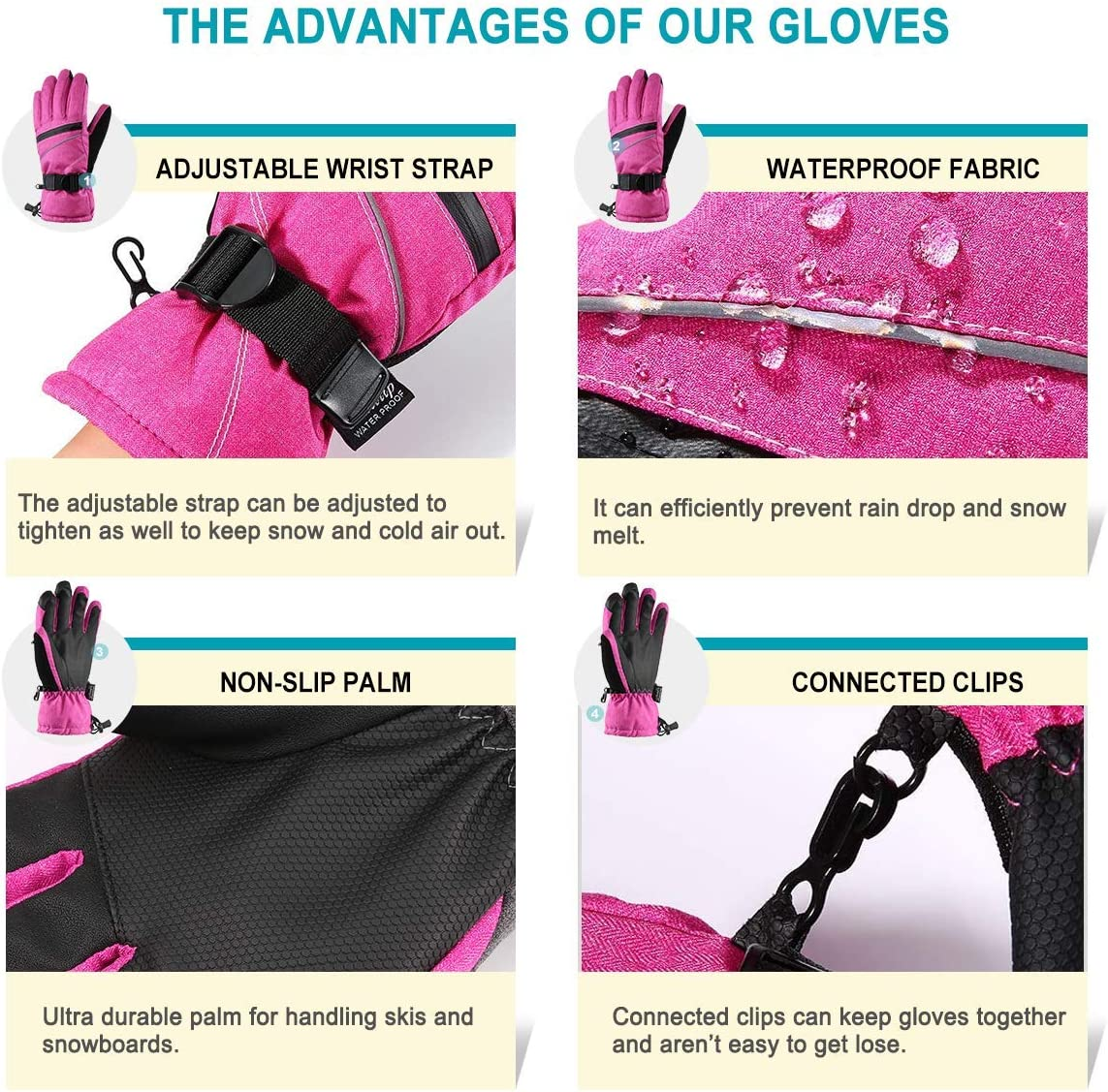 Andake Womens Waterproof Touch Screen Ski Snowboard Snow Gloves Breathable Warm Windproof with 3M Thinsulate Insulation
