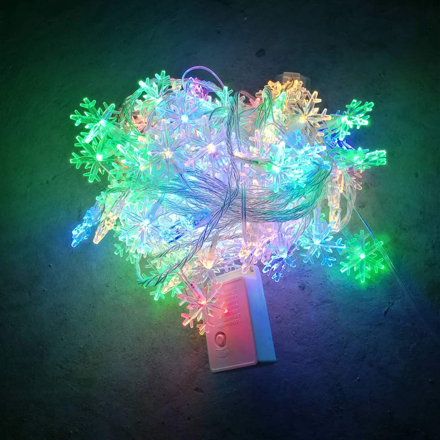 Upolymall LED 10 m Color Snowflake String String String Holiday Party Decoration Lights AA Battery Lights, Fairy Lights, Wedding Lights, Backyard Lights, Christmas Lights, Outdoor Interior Light d51087
