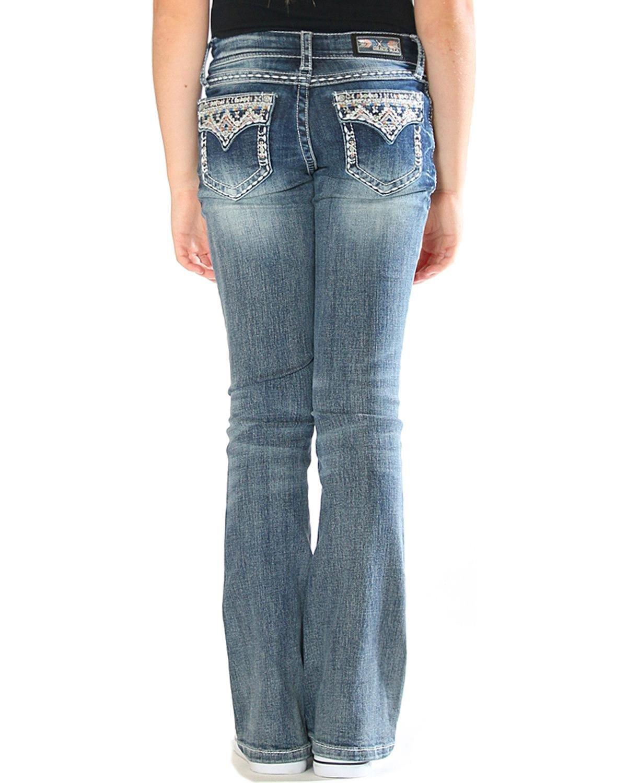Grace in LA Girls' Blue Aztec Bling Pocket Jeans Boot Cut Blue 7