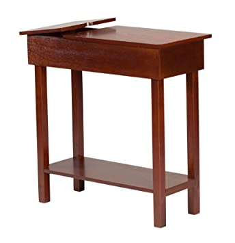 Enjoyable Oakridge Chairside Table With Usb Power Strip 11 In Wide Brown Wood Finish Download Free Architecture Designs Viewormadebymaigaardcom