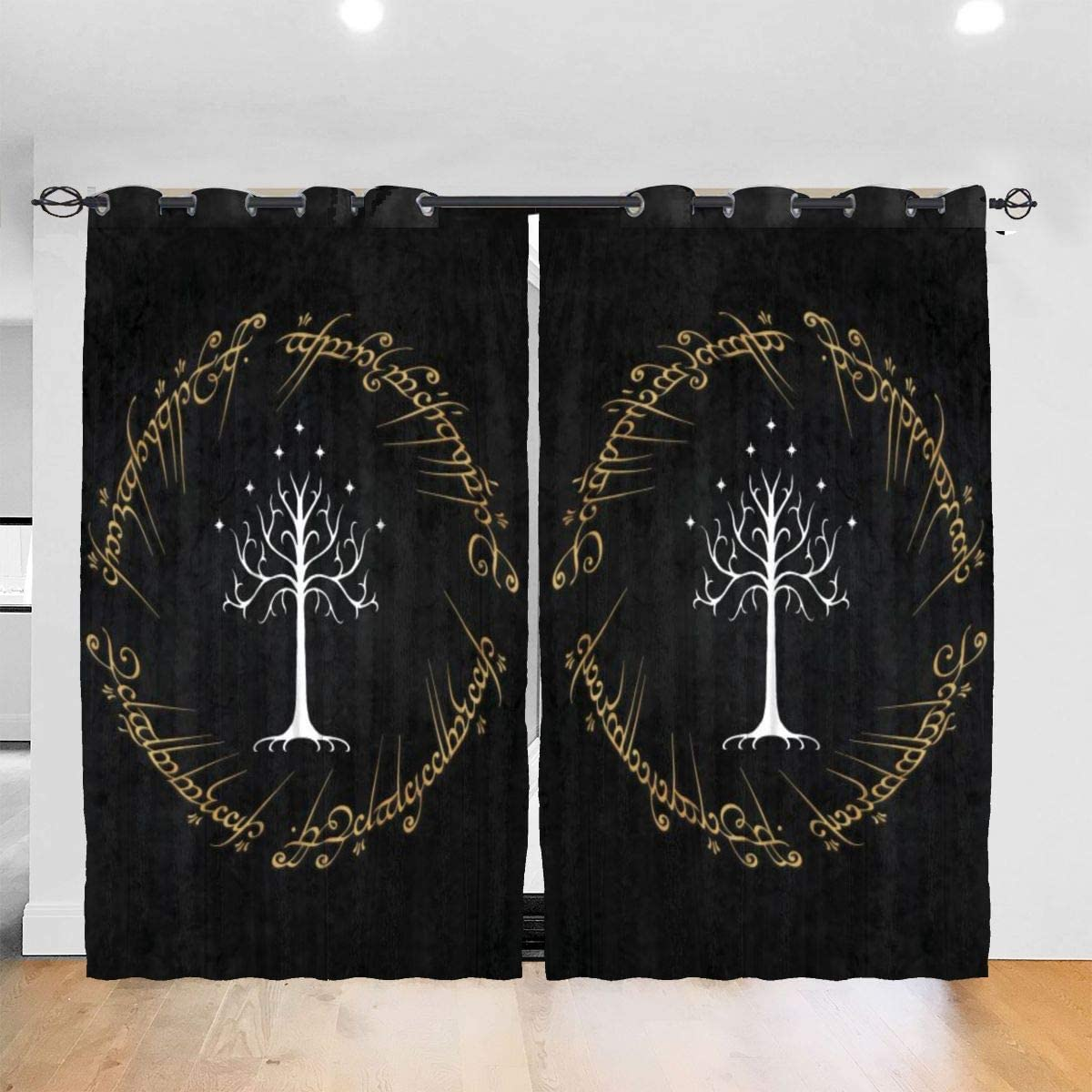 Meroy Fowler Lord Rings Blackout Curtain Set-for Home Decor Living Dining Bedroom Top Insulation Compartment Bedroom Living Room Children's Room 3D Printing-52in W x 72in L(1Pair)