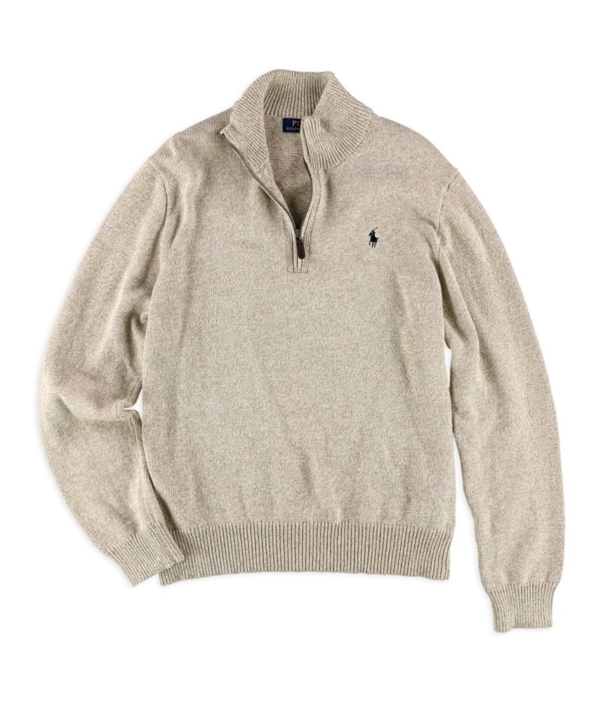 Polo Ralph Lauren Men's Mock Half-Zip Ribbed Sweater, L, Oatmeal Heather