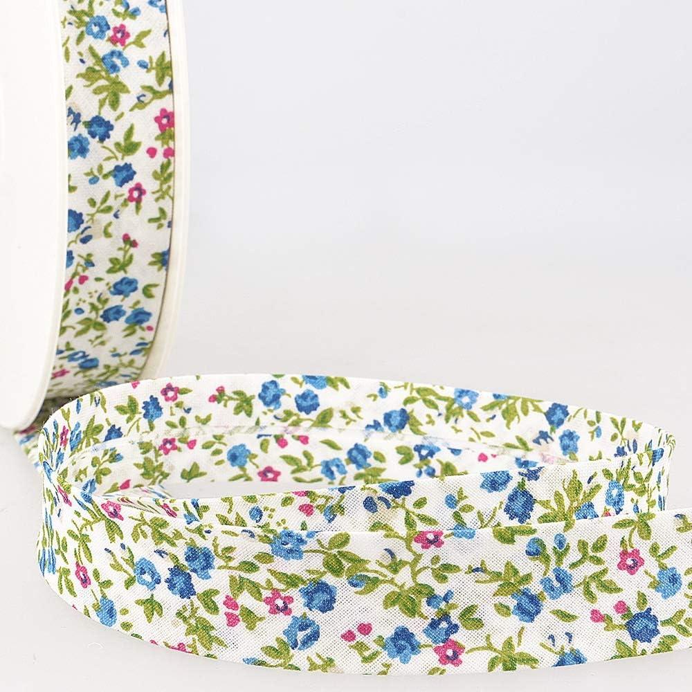 Per Metre Blue /& Purple Flowers On White Plush Addict La Stephanoise 20mm Cotton Bias Binding