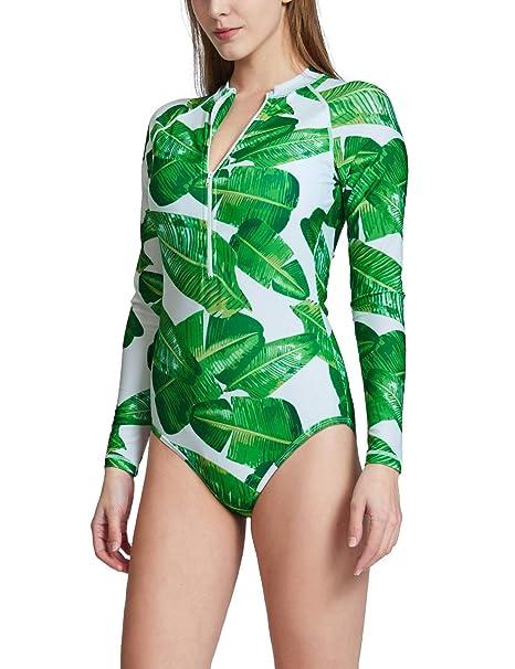 584d2d04f7f2 Baleaf Women's Long Sleeve One Piece Sun Protection Rash Guard Rashguard  UPF 50+ Wetsuit Swimsuit