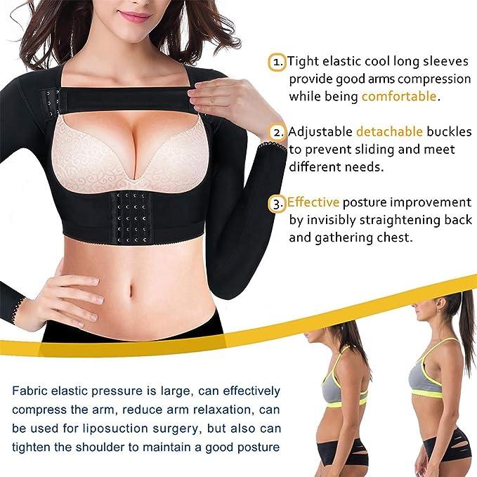 Chumian Kompression Oberarme /Ärmel Figurformende Shapewear Top Nahtlose mit Post Chirurgisch Vorderverschluss BH