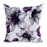 "Xinantime Cotton Linen Square Throw Pillow Case Decorative Cushion Cover Pillowcase Flower 18 ""X18 "" (Purple)"