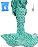 "Amazon Price History for:LAGHCAT Mermaid Tail Blanket Knit Crochet Mermaid Blanket for Adult, Oversized Sleeping Blanket, Wave Pattern (75""x35.5"",Mint Green)"