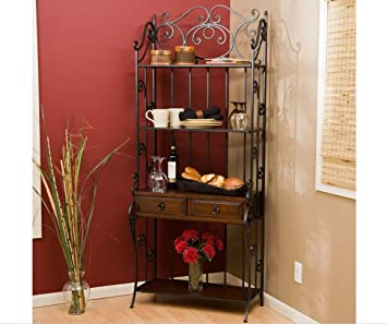 Bakers Rack With Drawers Wrought Iron Bakers Rack Kitchen Bakers Rack With  Veneer