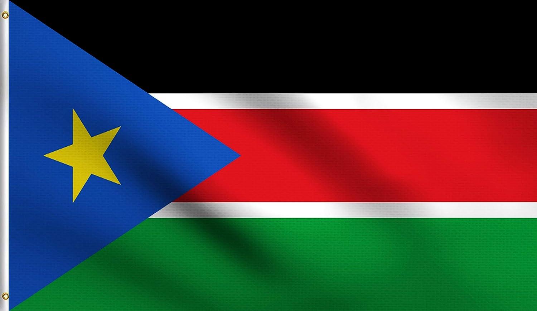 DMSE South Sudan Sudanese Flag 3X5 Ft Foot 100% Polyester 100D Flag UV Resistant (3'X5' Ft Foot)