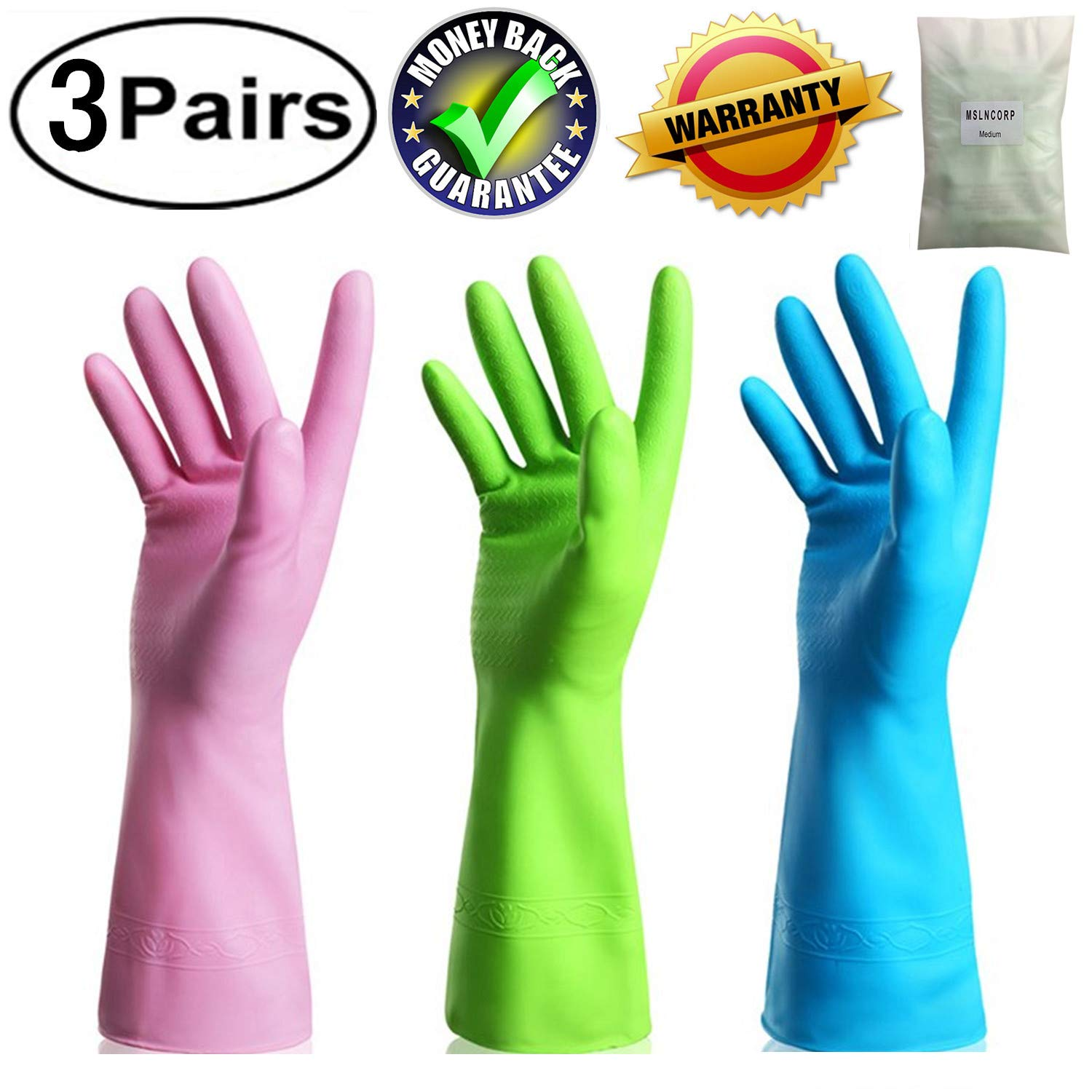 Kitchen Rubber Cleaning Gloves Dishwashing Clean Latex Glove Reusable with Household Powder Free (3 Pairs Medium)