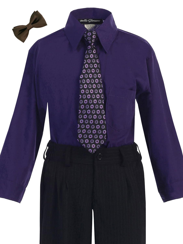 Bello Giovane Boys Purple Dress Shirt Tie Set 2T-7 (Pick Free Bow Tie)