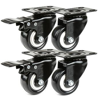 Ruedas giratorias de goma para muebles 4 ruedas 50 mm H/&S