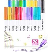 Dazzle Marker Pen, Self-outline Metallic Markers, Ohuhu 20 Colors Double Line Outline Doodle Shimmer Super Squiggles…