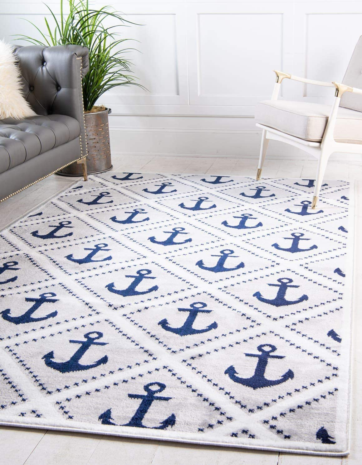 Unique Loom Metro Collection Modern Nautical Geometric Anchor Gray Area Rug 5 0 x 8 0