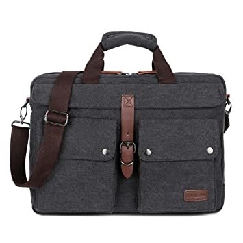 BAOSHA BC-07 Men s Canvas Leather Briefcase Handbags 15.6 17 Inch Laptop  Bags Notebook Computer eba4540cb728b