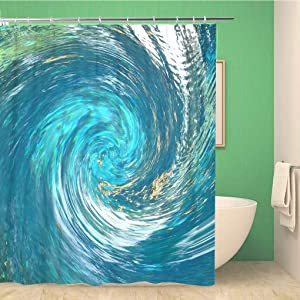 Awowee Bathroom Shower Curtain Hurricane Like Abstract That Suggests Debris Being Pulled Into 66x72 inches Waterproof Bath Curtain Set with Hooks