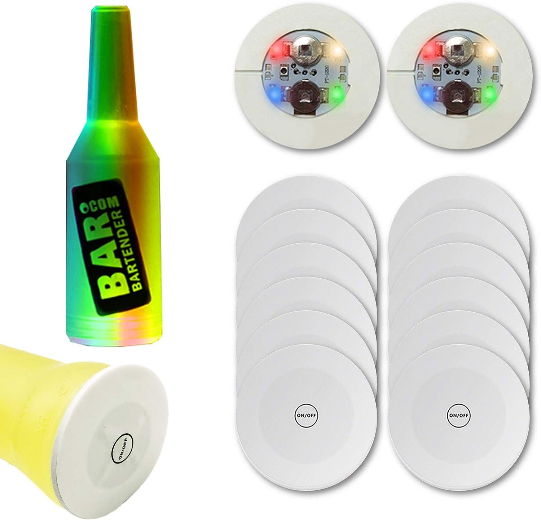 Xfunjoy LED Coaster, LED Sticker Lights, LED Bottle Lights Cup Holder Lights for Wine Liquor Bottle, Bottle Sparklers for Champagne, Party, Bar 12Pcs ,Colorful