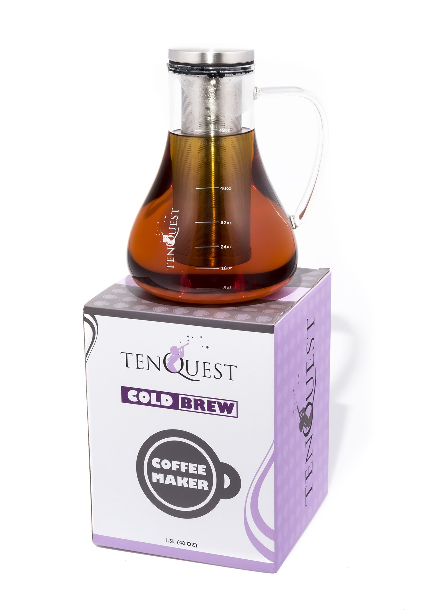 Large Cold Brew Coffee Maker by Tenquest, 1.5L (48 oz) Airtight Brewed Iced Coffee Maker, 2X Double Glass Pitcher Cold Brewer with Removable Filter