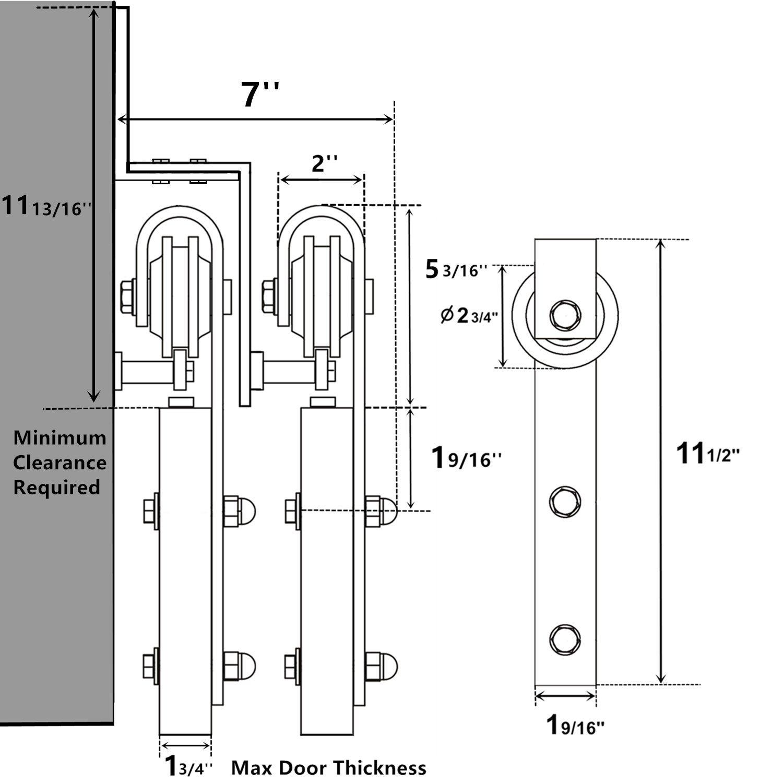 Vancleef 75ft Bypass Door Kit Sliding Barn Uniline Ups Circuit Diagram Hardware Classic Design Lightning Style Z Bracket Black Rustic Interior And Exterior