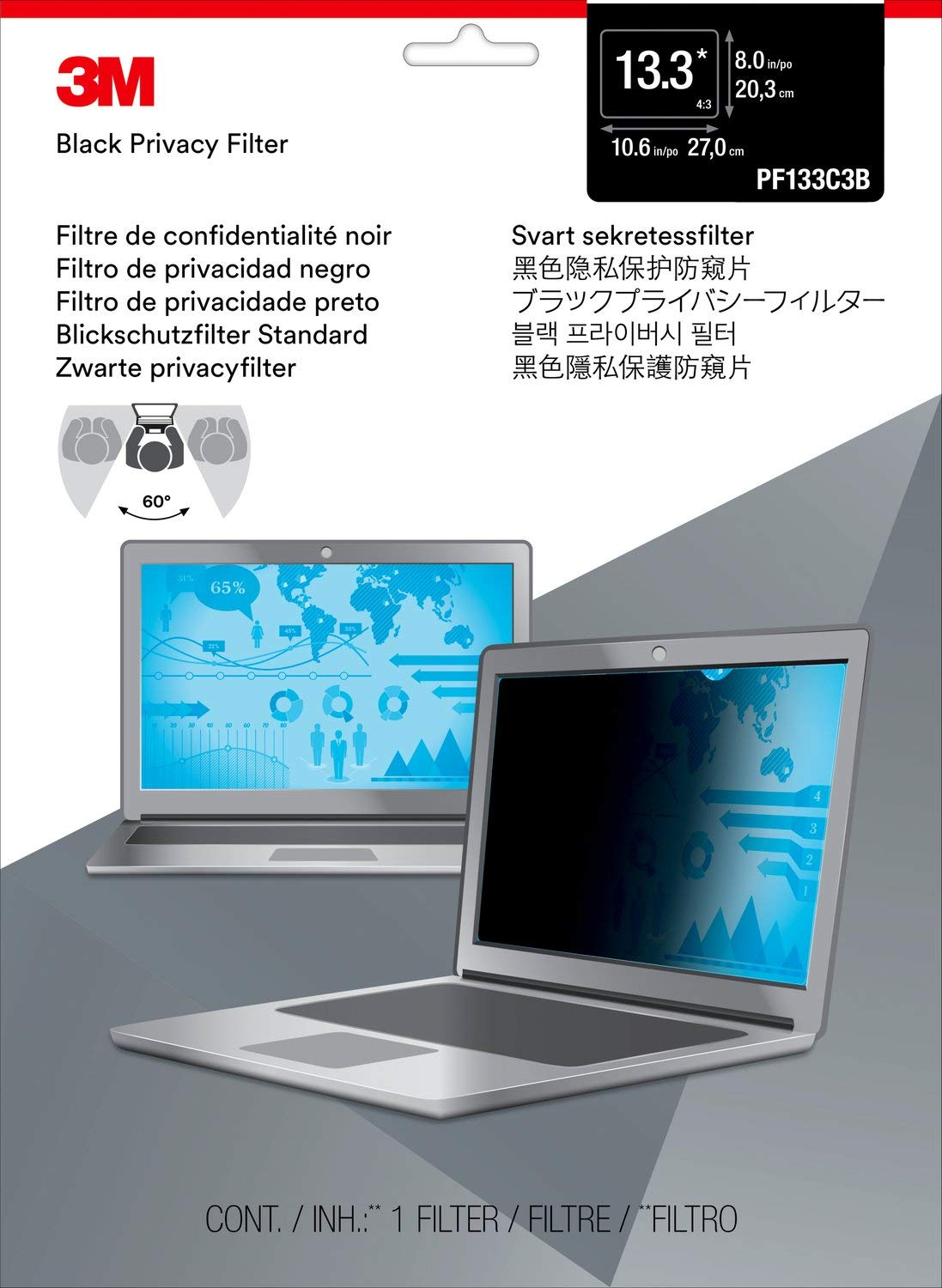 3M Privacy Filter for 13.3'' Standard Laptop (4:3) (PF133C3B) by 3M (Image #2)