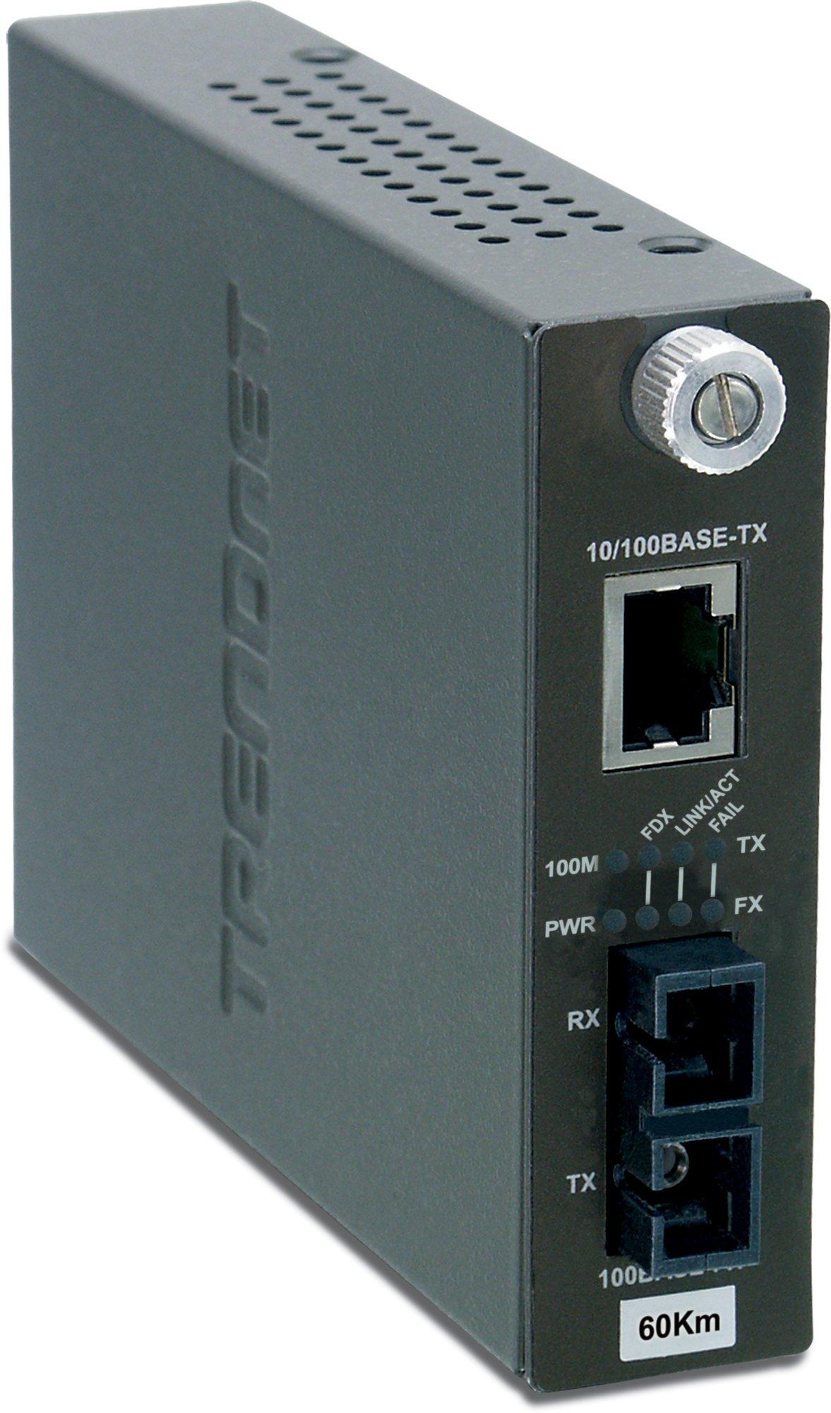 TRENDnet Intelligent 10/100Base-TX to 100Base-FX Single Mode SC Fiber Converter (60Km /37.3 Miles),TFC-110S60i