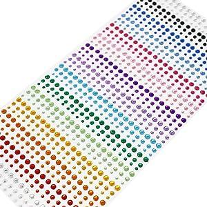 SANC 900 Pieces 3mm 4mm 5mm Multicolor Bling Rhinestone Sticker Sheet Gem Diamond Self Adhesive