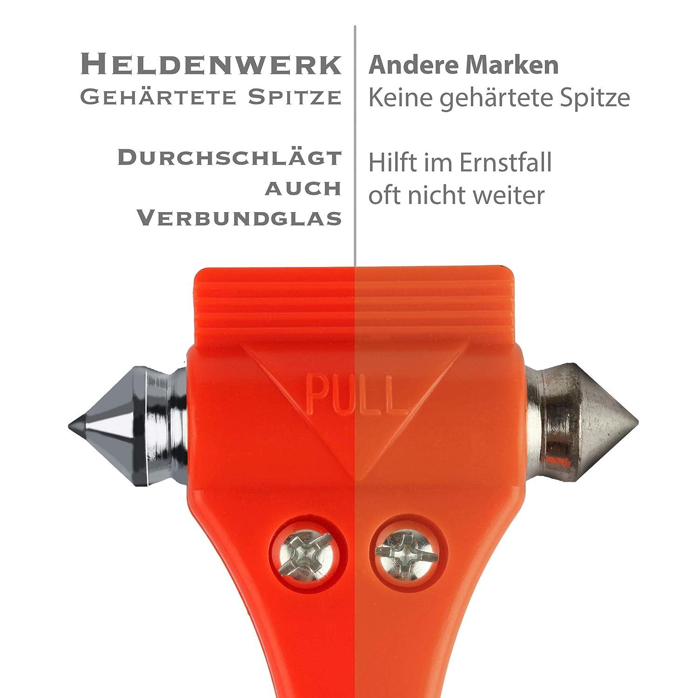 Heldenwerk/® Notfallhammer f/ürs Auto Sicherheitshammer mit Gurtmesser 2 Jahre Geld zur/ück Notfall Hammer - Nothammer mit Gurtschneider /& geh/ärteten Spitzen 2er Set