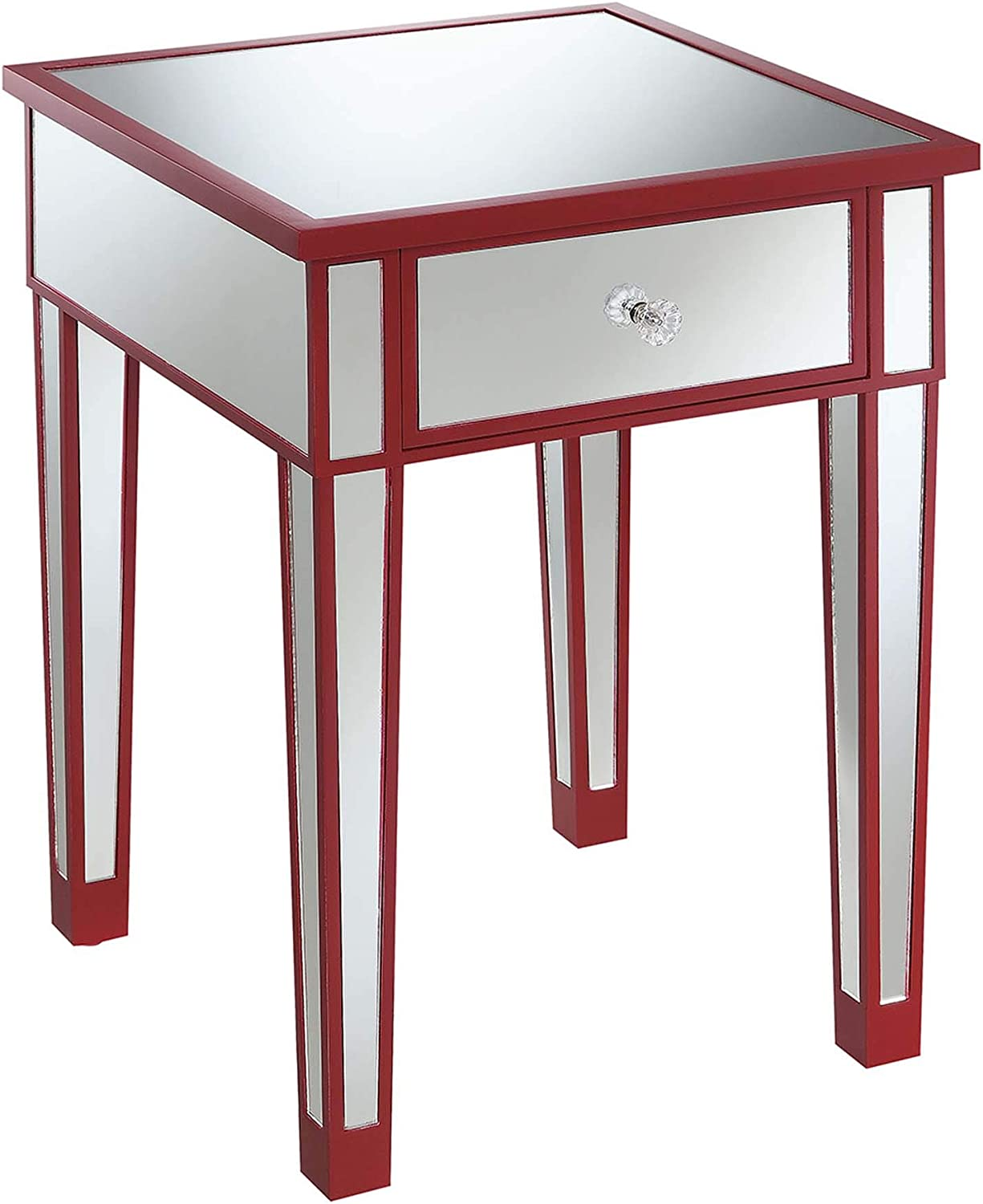 Convenience Concepts Gold Coast Mirrored End Table with Drawer, Cranberry Red / Mirror