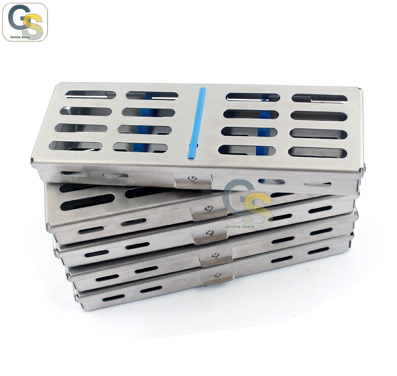 G.S SET OF 5 EACH GERMAN GRADE STAINLESS STEEL DENTAL AUTOCLAVE STERILIZATION CASSETTE RACK BOX TRAY FOR 5 INSTRUMENTS BEST QUALITY