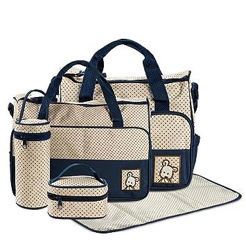 FREESOO Set 5 kits Bolsa de Mama Para Bebe Biberon Bolso Cambiador de Pañales Bolsillo Maternal Bebé para Carro Carrito Biberón Colchoneta Comida ...