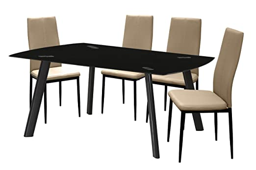 cmc Conjunto de Comedor 4 sillas tapizadas Capuchino Mesa Negro ...