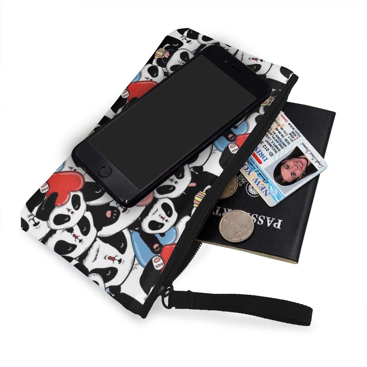 Coin Pouch Cute Panda Canvas Coin Purse Cellphone Card Bag With Handle And Zipper