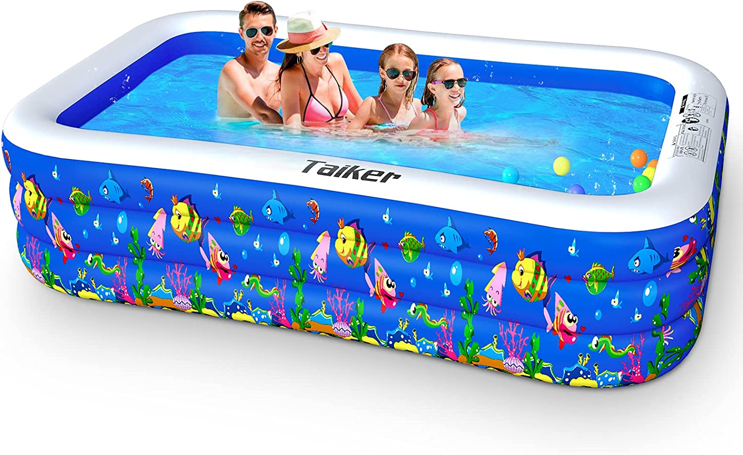 Taiker Inflatable Swimming Pools Kiddie Pools Family Lounge Pools 96 X 57 X 21 Large Family Swimming Pool For Kids Adults Babies Toddlers Outdoor Garden Backyard Kitchen Dining