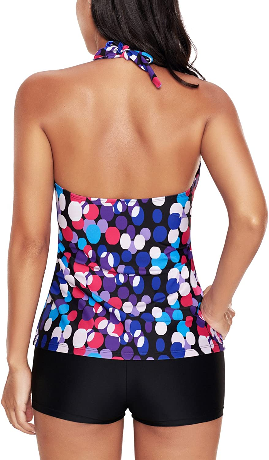 Uniarmoire Womens Halter Top and Boy Shorts Tankini Suit Plus Size Dot 5XL